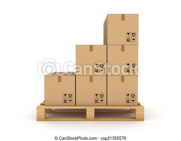 Carton box on a pallet. - csp21355576