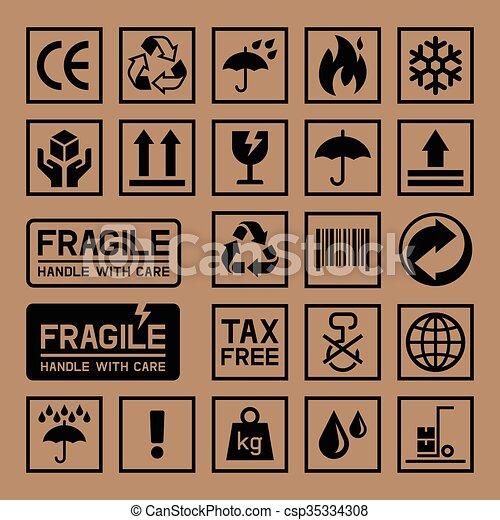 Carton Cardboard Box Icons.   - csp35334308