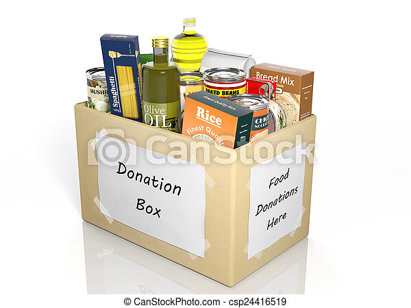 Carton donation box full with products isolated on white - csp24416519