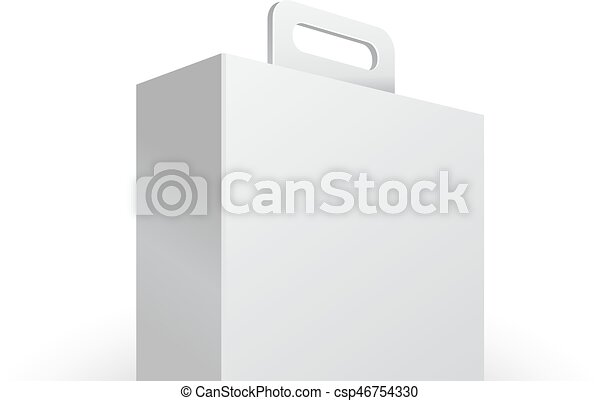 Carton or plastic white blank package box with handle vectors carton or plastic white blank package box with handle briefcase case portfolio case illustration pronofoot35fo Images