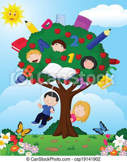 cartone animato, bambini giocando, appl - csp19141902
