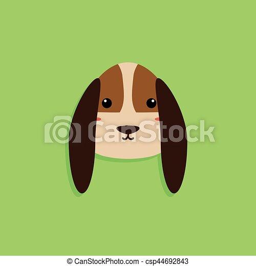 Cartone animato cane faccia. astratto cane faccia sfondo verde