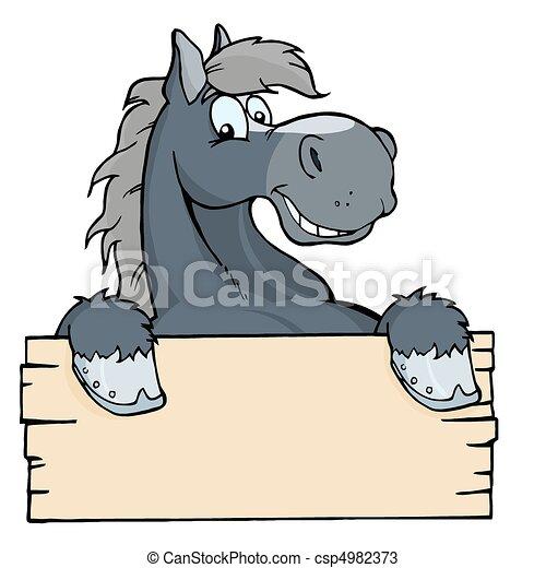 cartone animato, cavallo, etichetta - csp4982373