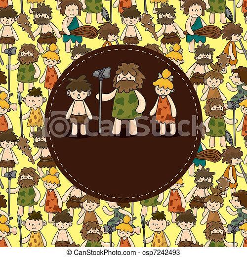 cartone animato, caveman, scheda - csp7242493