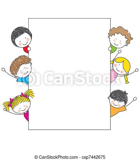 cartone animato, cornice, bambini, carino - csp7442675