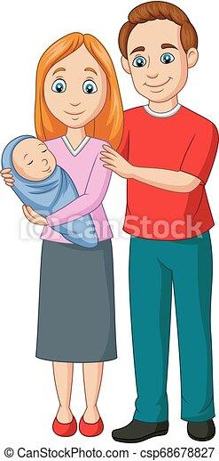 cartone animato, famiglia, felice - csp68678827
