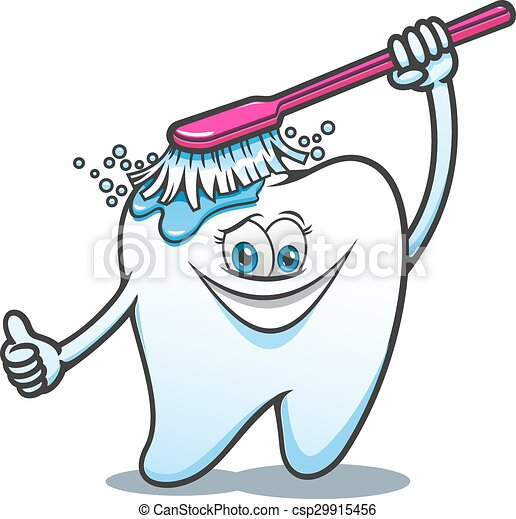 cartone animato, felice, spazzola, dente - csp29915456