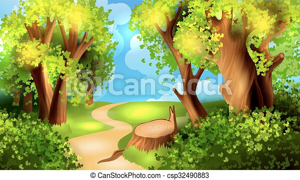 cartone animato, fondo, foresta - csp32490883