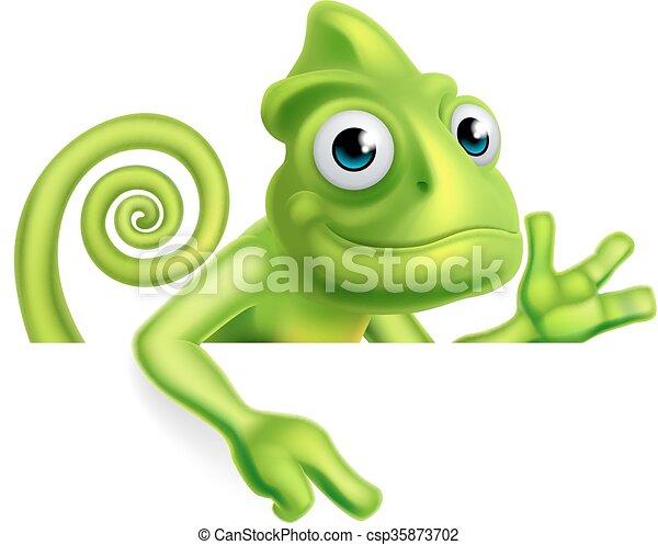 cartone animato, indicare, camaleonte - csp35873702