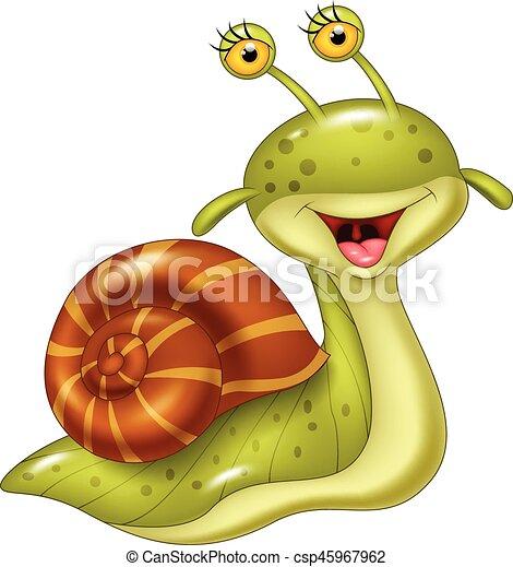 Cartone animato lumaca felice felice vettore illustrazione