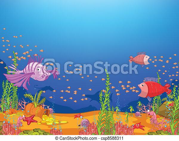 cartone animato, oceano - csp8588311