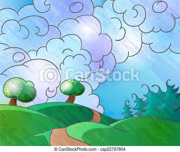 cartone animato, paesaggio - csp22797804