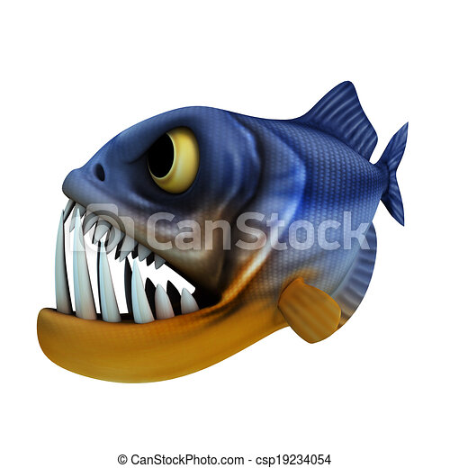 cartone animato, piranha - csp19234054