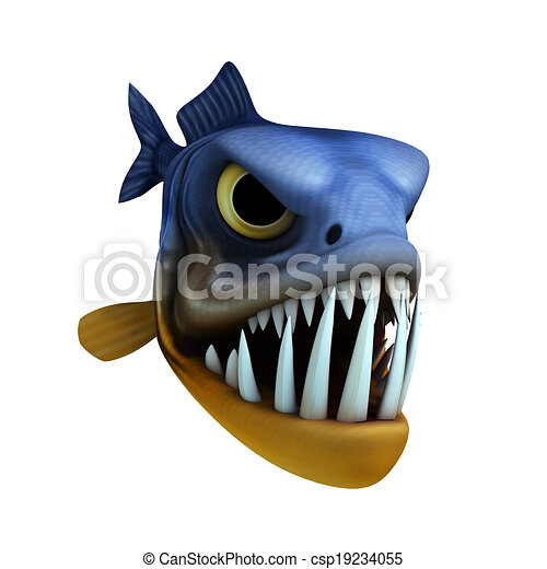 cartone animato, piranha - csp19234055