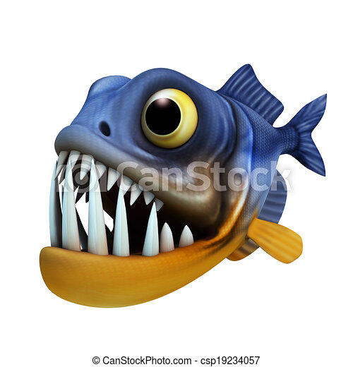 cartone animato, piranha - csp19234057
