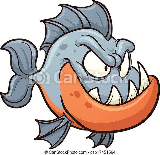 cartone animato, piranha - csp17451564