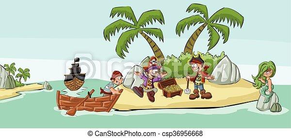 cartone animato, pirati - csp36956668