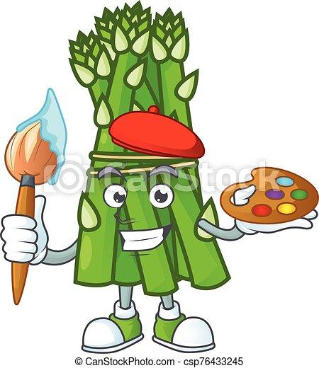 cartone animato, pittore, asparago, icona, felice, spazzola - csp76433245