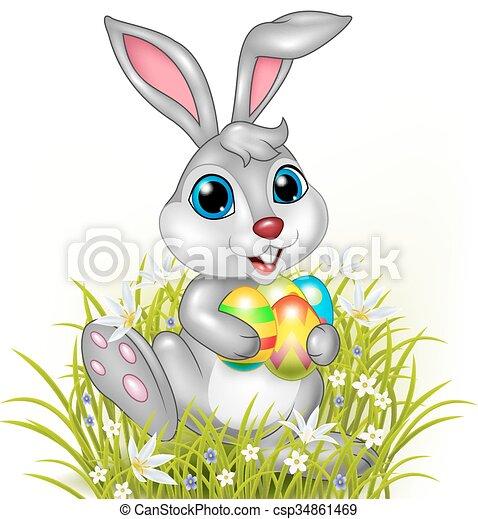 cartone animato, presa a terra, colorito, coniglio - csp34861469