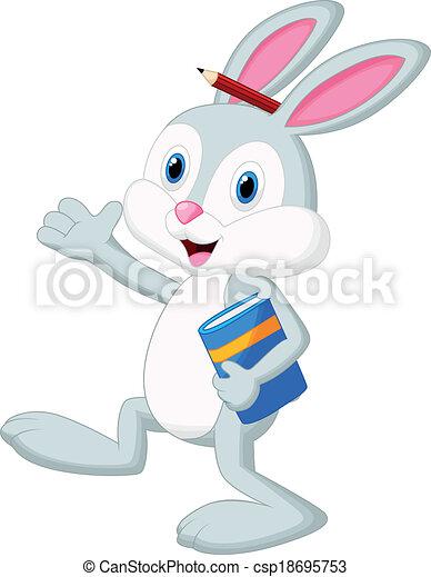 cartone animato, presa a terra, libro, coniglio - csp18695753