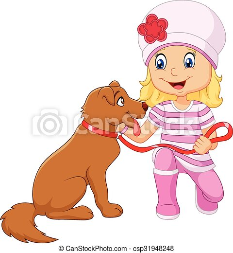 cartone animato, ragazza, isolato, lei, cane - csp31948248