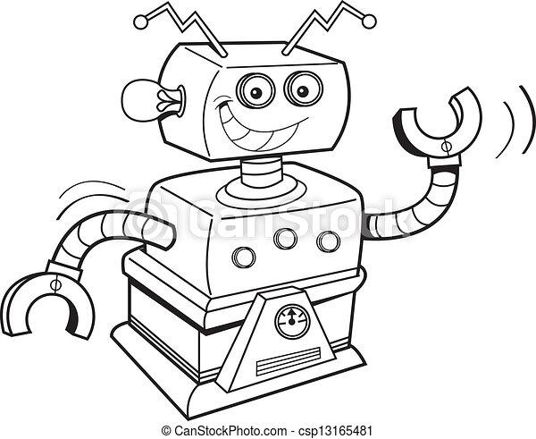 Cartone animato robot robot bianco nero sorridente - Cartone animato immagini immagini fantasma immagini ...