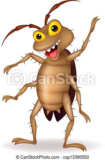 cartone animato, scarafaggio, mano, ondeggiare - csp13390550