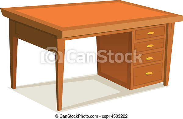 Ufficio Legno Bianco : Cartone animato scrivania ufficio. ufficio legno isolato