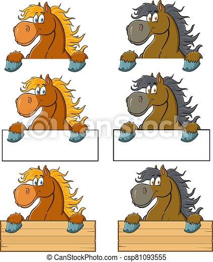cartone animato, segno bianco, cavallo, carattere, sopra - csp81093555