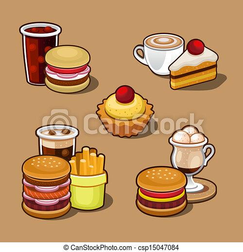 cartone animato, set, digiuno, colorito, cibo. - csp15047084
