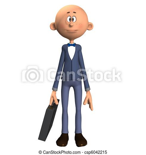 Cartone animato uomo affari briefcase suo calvo presa a