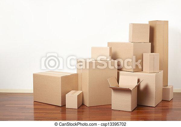 cartone, giorno trasloco, scatole - csp13395702