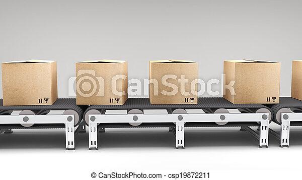 cartons, ceinture, convoyeur - csp19872211