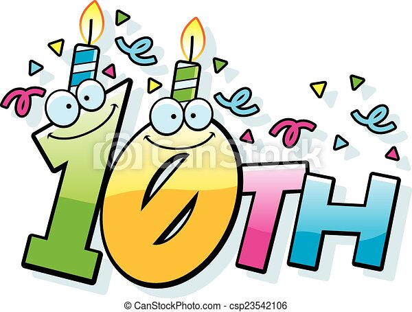 cartoon 10th birthday a cartoon illustration of the text vector rh canstockphoto com birthday vector art free download happy birthday vector artwork