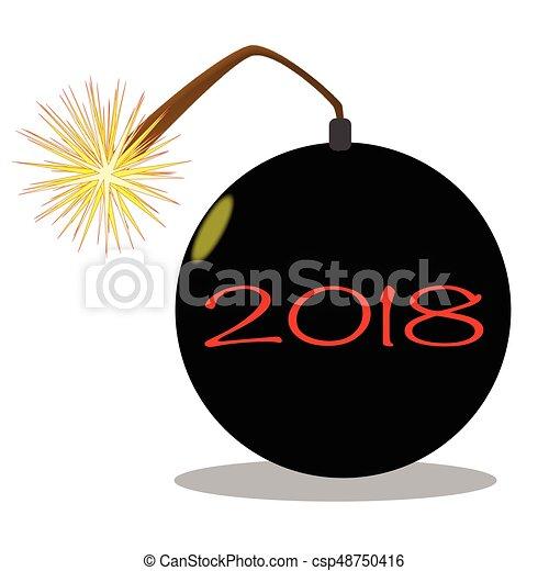 cartoon 2018 new year bomb csp48750416