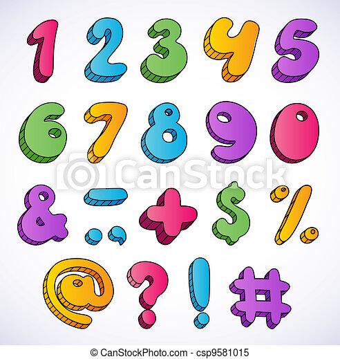 Cartoon 3d numbers set. - csp9581015