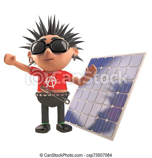 Cartoon 3d Punk Rocker Character Standing In Front Of A Renewable Energy Solar Panel 3d Illustration Render