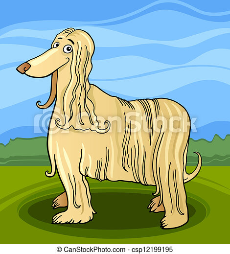 cartoon afghan hound dog - csp12199195