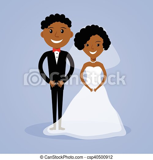 Cartoon afro-american bride and groom - csp40500912