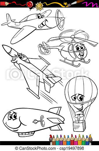 cartoon aircraft set for coloring book - csp19497898