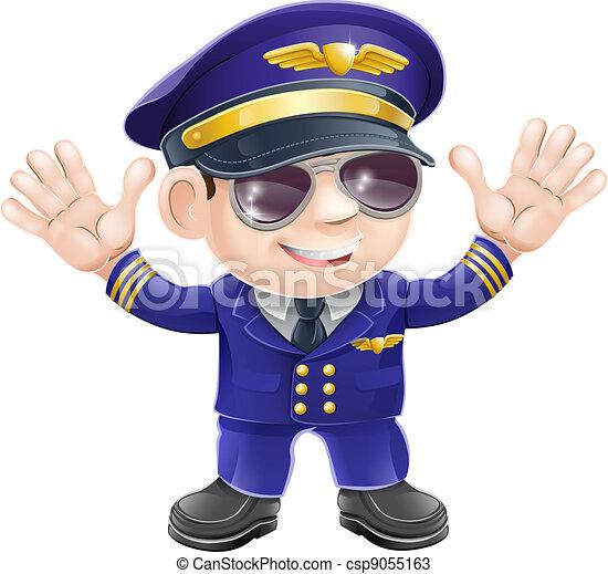 cartoon airplane pilot illustration of a cute happy airplane pilot rh canstockphoto com Airplane Pilot Cartoon Character airplane pilot cartoon