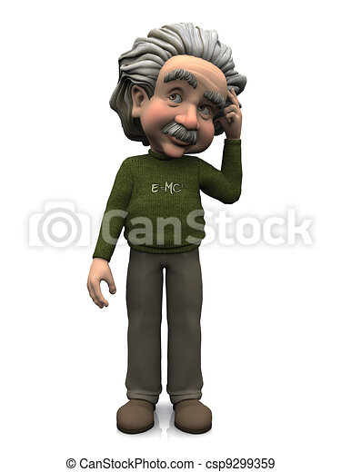 Cartoon Albert Einstein thinking. - csp9299359