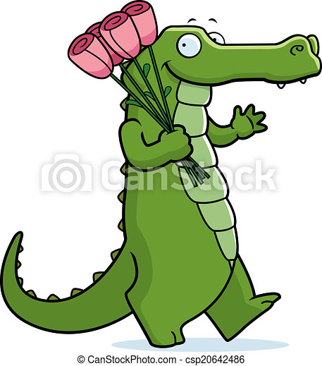 Cartoon alligator flowers a cartoon alligator holding pink flowers cartoon alligator flowers csp20642486 mightylinksfo