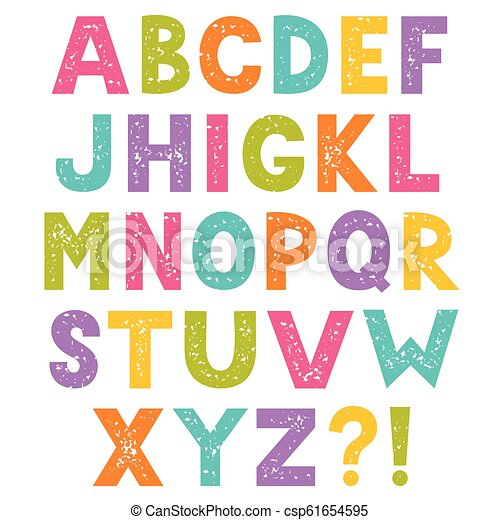 Cartoon alphabet, letters with stamped texture - csp61654595