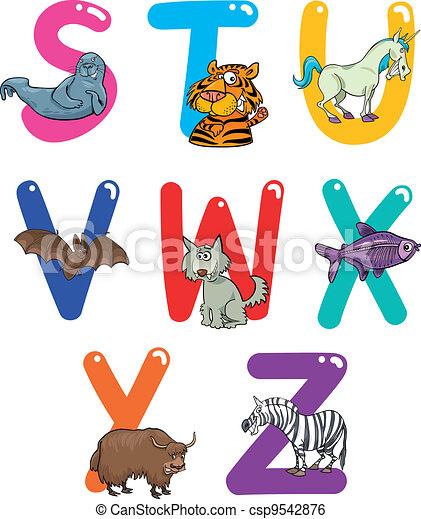 Cartoon Alphabet with Animals - csp9542876