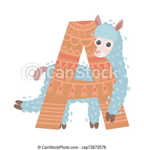 Cartoon alpine Lama with the letter A. Vector illustration on white background. - csp73672576