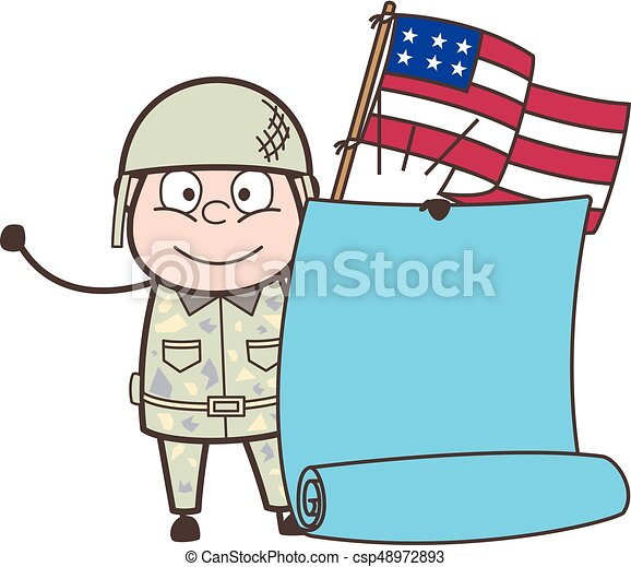 Cartoon American Army Man with Flag and Parchment Banner Vector Illustration - csp48972893