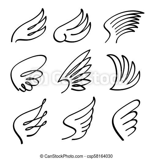 660e696ef Cartoon angel wings vector set. Sketch doodle winged abstract emblems  isolated on white background -