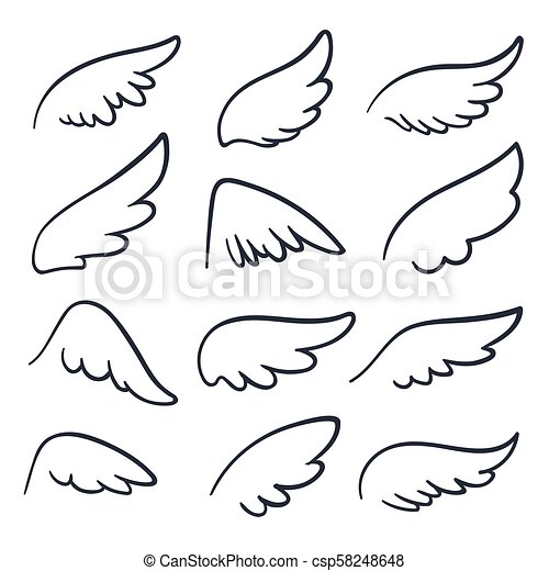 Cartoon Angel Wings Winged Doodle Sketch Icons Angels And Bird