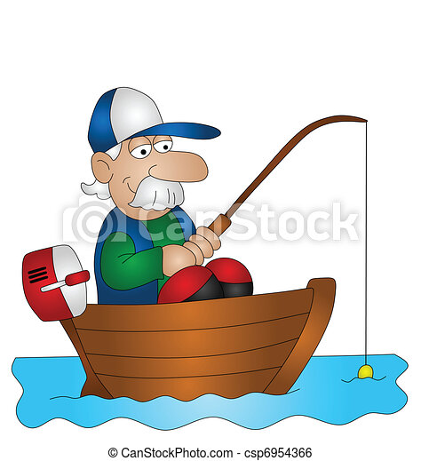 cartoon angler fishing from boat isolated on white clip art rh canstockphoto com